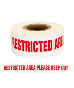 "Barrier Warning Tape ""RESTRICTED AREA PLEASE KEEP OUT"" Red/White"