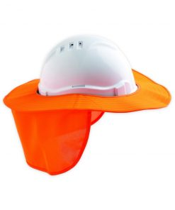 Hard Hat Brim with neck flap FLUORO ORANGE