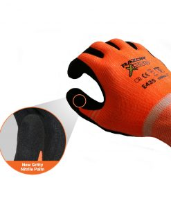 Nitrile coated Cut Resistant Level5 Orange HPPE Fibre Liner