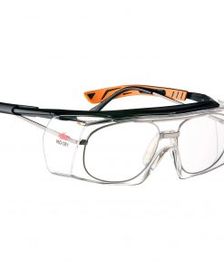 NoCry Wraparound Over-Glasses Safety Glasses Black & Orange frames