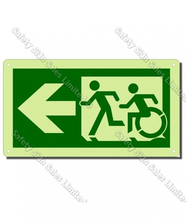CYO|EG01GIDL – Accessible Exit Glow-In-The-Dark Sign LEFT Arrow