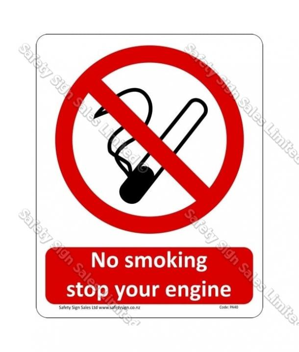 PA40 – No Smoking Please Stop Your Engine Sign