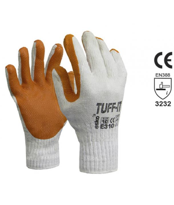 Knitted poly/cotton glove. Red latex dip coating for grip and durability