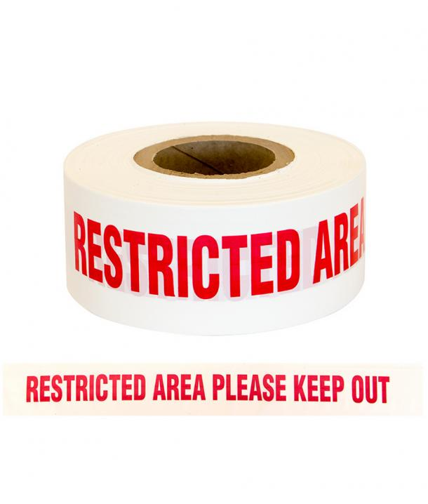 """Barrier Warning Tape """"RESTRICTED AREA PLEASE KEEP OUT"""" Red/White"""