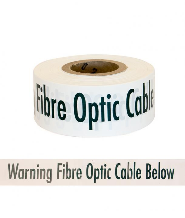 """Trench Warning Tape """"CAUTION BURIED OPTIC FIBRE CABLE"""" Black on White"""